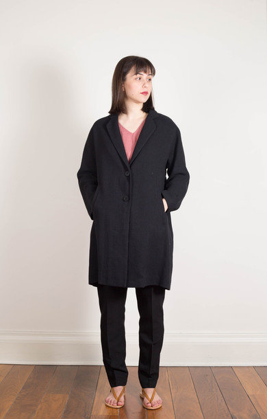 Relaxed Linen Blend Coat Black