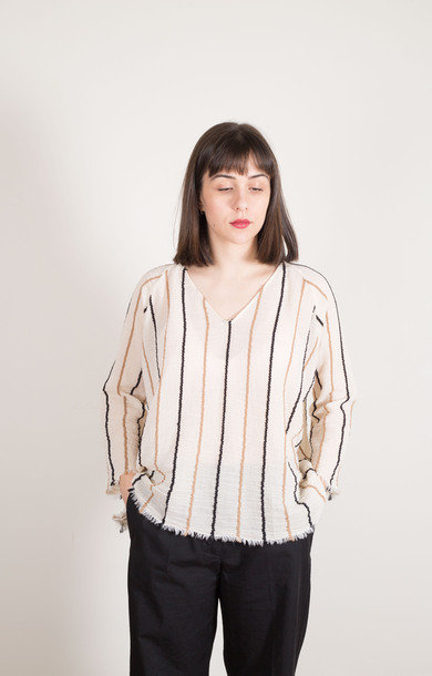 Relaxed V-Neck Shirt Multi Stripe