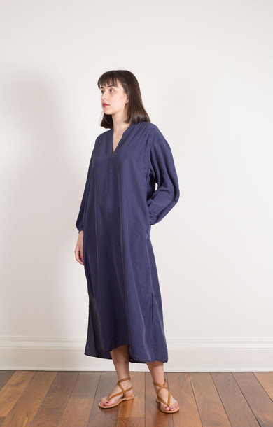 Side Split Silk Dress Midnight