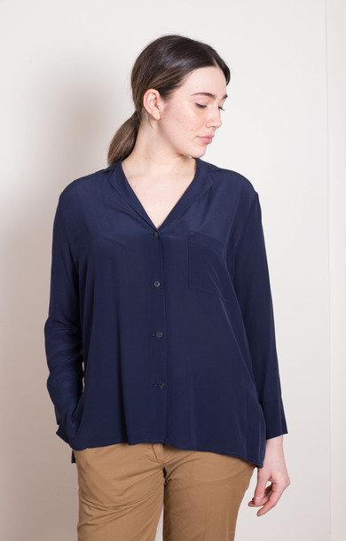 Silk Shirt Blouse Navy