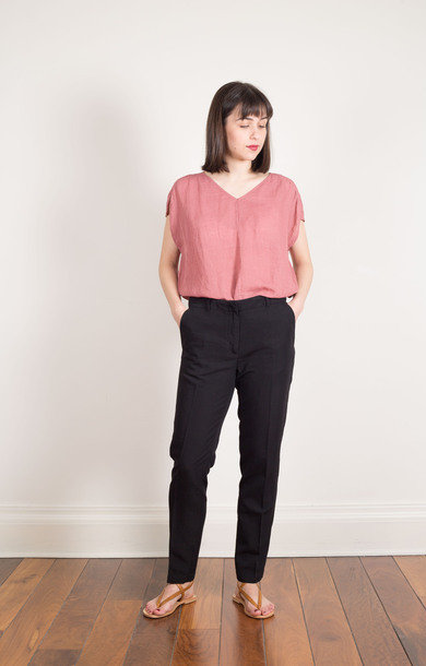 Straight Linen Trousers Black