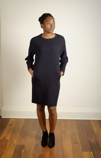 Textured Jersey Dress Black