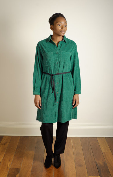 Tie Waist Corduroy Shirt Dress Green