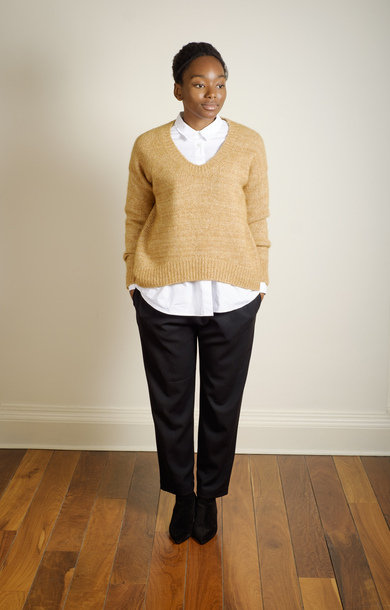 V Neck Jumper Gold
