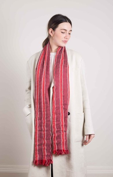 Wavy Stripe Scarf Red