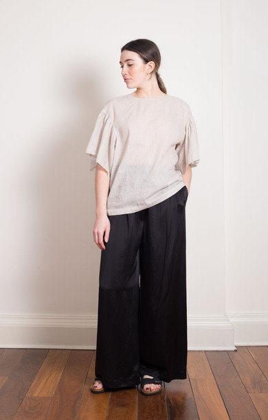 Wide Leg Silk Black Pants