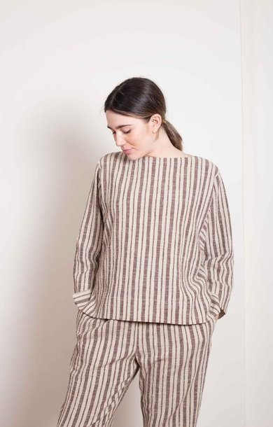 Wide Neck Tunic Top Stripe