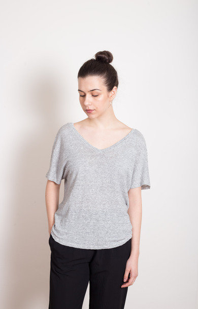 Wide V Striped Linen T-Shirt