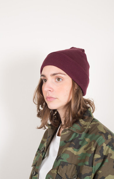 Cotton & Wool Beanie Burgundy