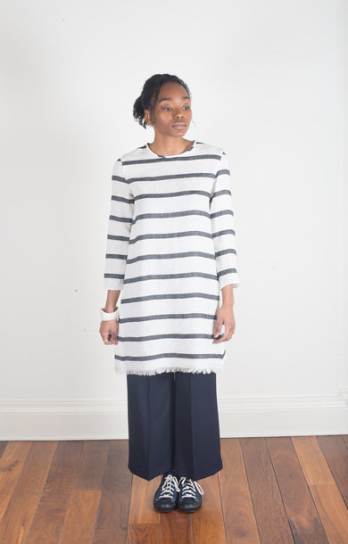 Norma Dress White Stripe