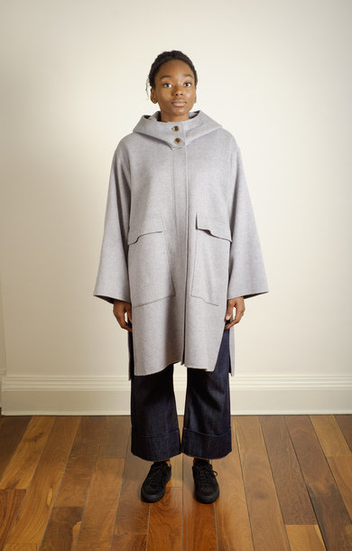 Candia Hooded Coat Light Grey