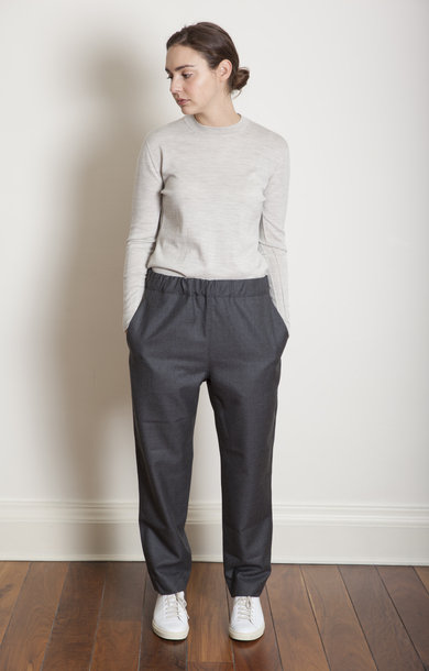 Partner Straight Drawstring Pants Mid Grey