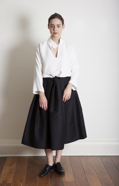 Sake Black Drawstring Pleated Skirt