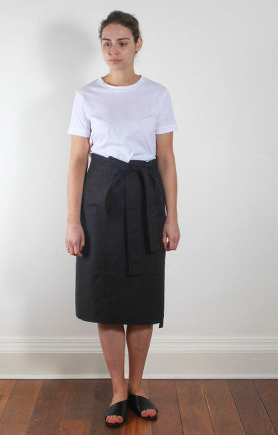 Say Belted Straight Skirt Black