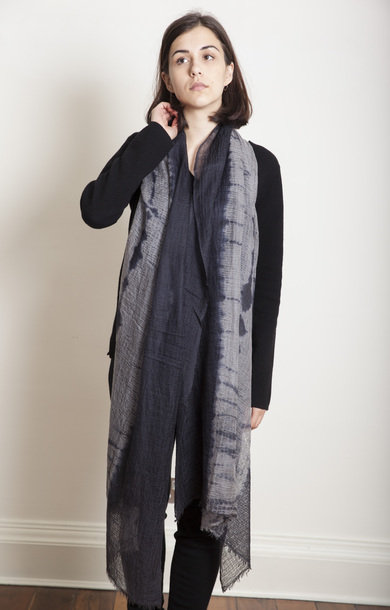Makiage Shibori Shawl Black/Grey