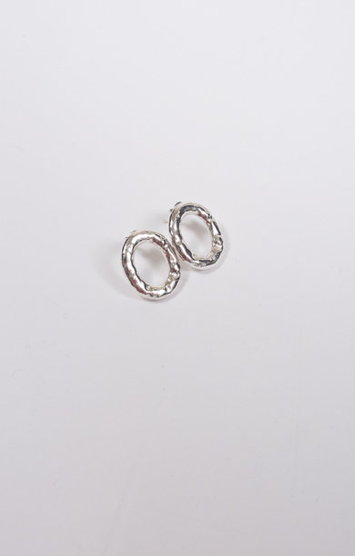 Earring Verge Round Silver