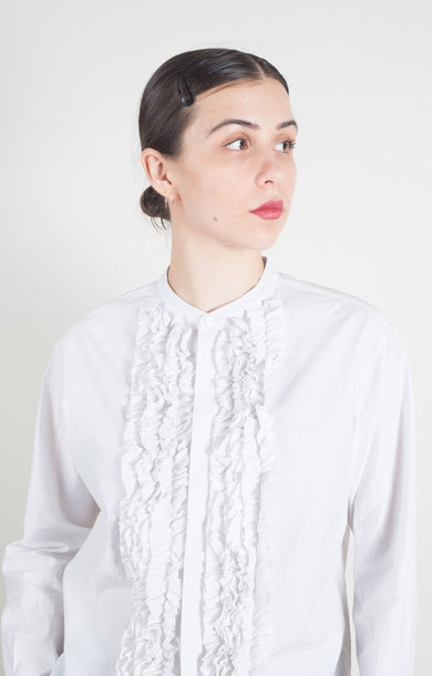 Band Collar Frill Shirt Smoke White