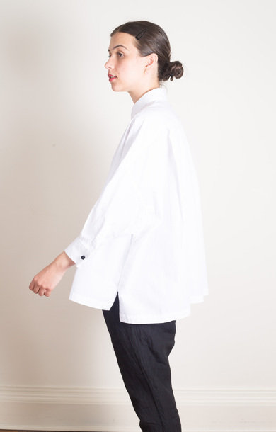 Double Cuffs Wide Shirt White