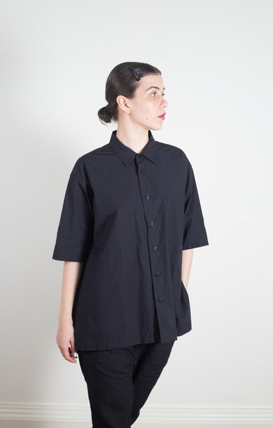 Half Sleeve Big Coverall Shirt Navy Black