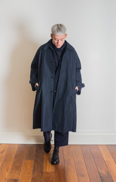 Oversized Soutien Coat Navy