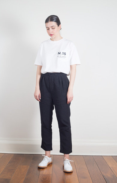 Pleated Underwear Pants Black Navy