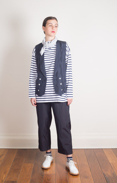Shawl Collar Long Gilet Navy