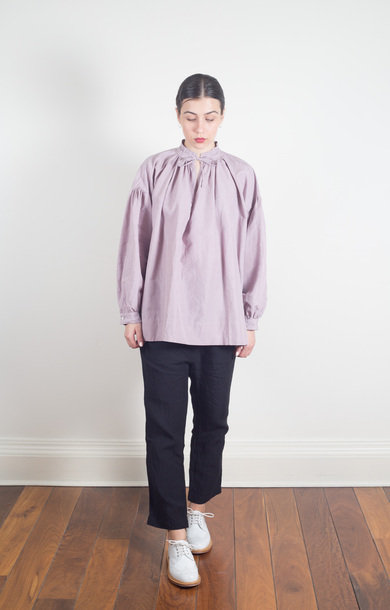String Surplice Shirt Grayish Rose
