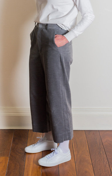 Wide Cuff Sack Trousers Heather Grey