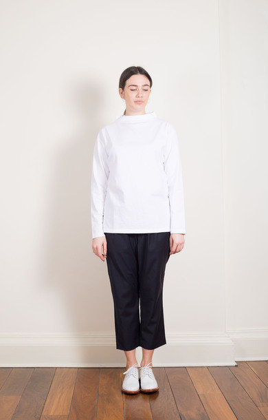 Boat Neck Big Basque Shirt White
