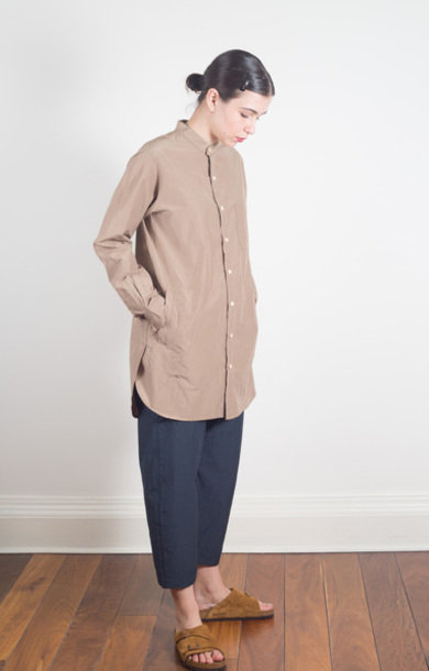 Band Collar Long Shirt Brown