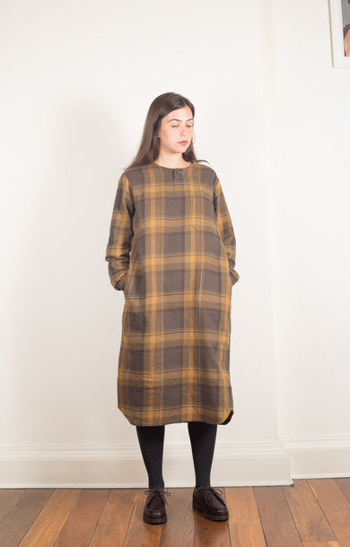 Henley Neck Shirt Dress Olive