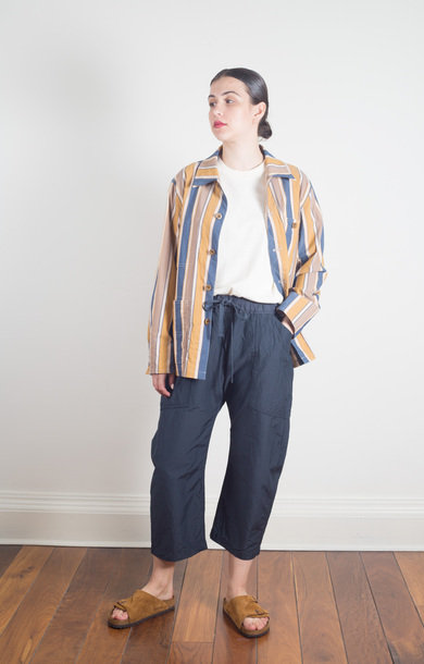 Loose Fit Crop Pants Navy