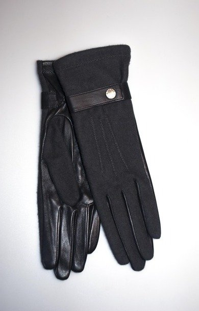 Mixed Fabric Glove Souris/Noir