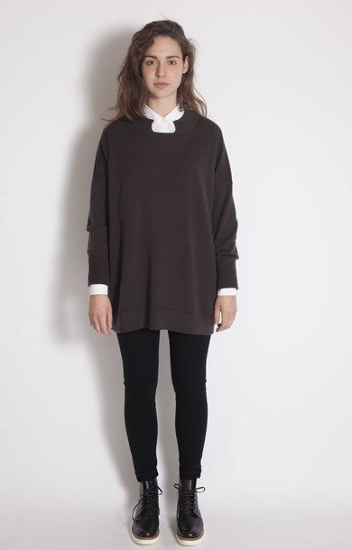 Part Collar Sweat Top Graphite