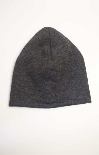 Knit Beanie Cap Grey Wool Jersey Knit