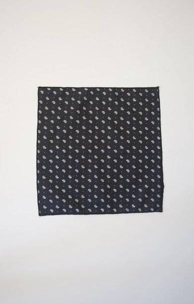 Mini Pocket Square Navy Small Paisley