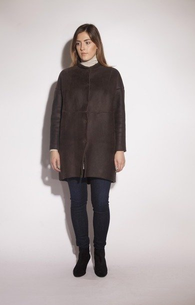 Sheepskin Collar Overcoat Tortora