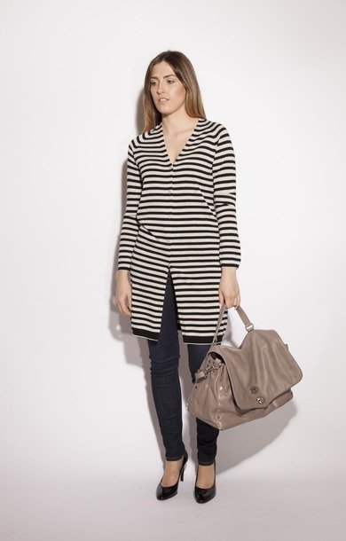 Avio & Wool Silk Cardigan Stripe